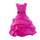 Matching Fuchsia Satin Pick-Up Bubble Flower Girl Dress Sequins 806mh