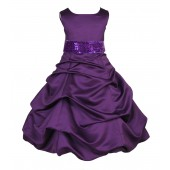 Matching Purple Satin Pick-Up Bubble Flower Girl Dress Sequins 806mh