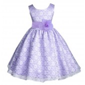 White/Lilac Floral Lace Overlay Flower Girl Dress Formal Beauty 163S