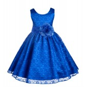 Royal Blue Floral Lace Overlay Flower Girl Dress Formal Beauty 163S