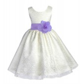 Ivory/Lilac Floral Lace Overlay Flower Girl Dress Special Event 163S
