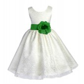 Ivory/Lime Floral Lace Overlay Flower Girl Dress Special Event 163S