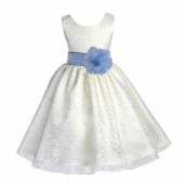 Ivory/Sky Floral Lace Overlay Flower Girl Dress Special Event 163S