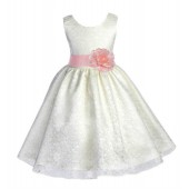 Ivory/Peach Floral Lace Overlay Flower Girl Dress Special Event 163S