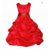 Matching Red Satin Pick-Up Bubble Flower Girl Dress Sequins 806mh