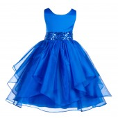 Royal Blue Asymmetric Ruffled Organza Sequin Flower Girl Dress 012S