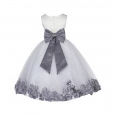 Ivory/Mercury Lace Top Floral Petals Ivory Flower Girl Dress 165T