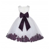 Ivory/Plum Lace Top Floral Petals Ivory Flower Girl Dress 165T