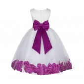 Ivory/Raspberry Lace Top Floral Petals Ivory Flower Girl Dress 165T