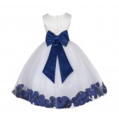 Ivory/Navy Lace Top Floral Petals Ivory Flower Girl Dress 165T