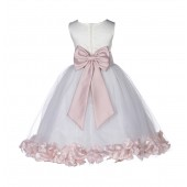 Ivory/Blush Pink Lace Top Floral Petals Ivory Flower Girl Dress 165T