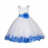 Ivory/Cornflower Lace Top Floral Petals Ivory Flower Girl Dress 165T