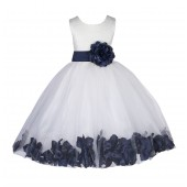 Ivory/Marine Lace Top Floral Petals Ivory Flower Girl Dress 165T