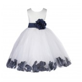 Ivory/Midnight Lace Top Floral Petals Ivory Flower Girl Dress 165T