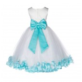 Ivory/Tiffany Lace Top Floral Petals Ivory Flower Girl Dress 165T