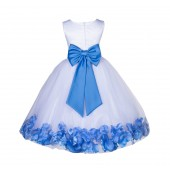 White/Cornflower Lace Top Tulle Floral Petals Flower Girl Dress 165T