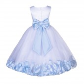 White/Ice Blue Lace Top Tulle Floral Petals Flower Girl Dress 165T