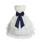 Ivory/Marine Satin Shimmering Organza Flower Girl Dress Pageant 308T