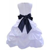 White/Marine Satin Pick-Up Bubble Flower Girl Dress Wedding 806S