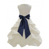 Ivory/Midnight Satin Pick-Up Bubble Flower Girl Dress Bridesmaid 806S
