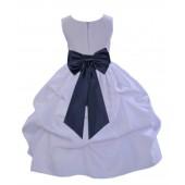 White/Midnight Satin Pick-Up Flower Girl Dress Wedding 208T