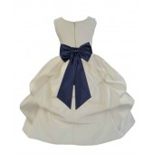 Ivory/Midnight Satin Pick-Up Flower Girl Dress Bridesmaid 208T