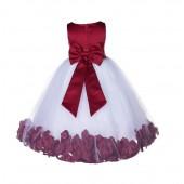 Apple Red Floral Rose Petals Tulle Flower Girl Dress 167T
