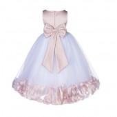 Blush Pink Floral Rose Petals Tulle Flower Girl Dress 167T