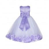 Lilac Floral Rose Petals Tulle Flower Girl Dress 167T
