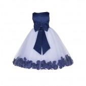 Navy Blue Floral Rose Petals Tulle Flower Girl Dress 167T