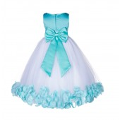 Tiffany Floral Rose Petals Tulle Flower Girl Dress 167T