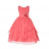 Coral Yoryu Chiffon Ruched Bodice Flower Pin Flower Girl Dress 162F
