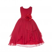 Red Yoryu Chiffon Ruched Bodice Flower Pin Flower Girl Dress 162F