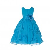 Turquoise Yoryu Chiffon Ruched Bodice Flower Pin Flower Girl Dress 162F