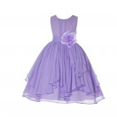 Lilac Yoryu Chiffon Ruched Bodice Flower Pin Flower Girl Dress 162F