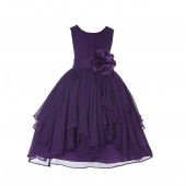 Purple Yoryu Chiffon Ruched Bodice Flower Pin Flower Girl Dress 162F