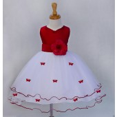 Apple Red Satin Tulle Butterflies Flower Girl Dress Occasions 801T