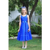 Royal Blue Floral Lace Overlay V-Neck Rhinestone Flower Girl Dress 166S