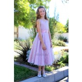 Dusty Rose Floral Lace Overlay V-Neck Rhinestone Flower Girl Dress 166S