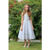 Silver Floral Lace Overlay V-Neck Rhinestone Flower Girl Dress 166S