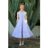 Silver/Lilac Floral Lace Overlay V-Neck Rhinestone Flower Girl Dress 166S