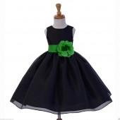Black/Lime Satin Bodice Organza Skirt Flower Girl Dress 841S