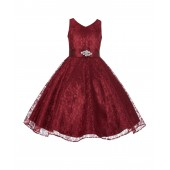 Burgundy Floral Lace Overlay V-Neck Rhinestone Flower Girl Dress 166S