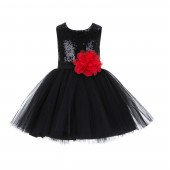 Black/Red Dazzling Sequins Mesh Tulle Flower Girl Dress Elegant 124NF