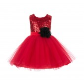 Red/Black Dazzling Sequins Mesh Tulle Flower Girl Dress Elegant 124NF
