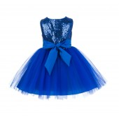 Royal Blue Sparkling Sequins Mesh Tulle Flower Girl Dress Stylish 124