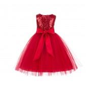 Red Sequins Bodice Ruffle Tulle Flower Girl Dress Formal J122