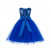 Royal Blue Sequins Bodice Ruffle Tulle Flower Girl Dress Formal J122
