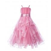 Dusty Rose Satin Organza Sequin Spaghetti-Straps Flower Girl Dress 009