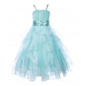 Mint Satin Organza Sequin Spaghetti-Straps Flower Girl Dress 009